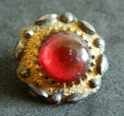 Antique Victorian RED Glass in BRASS Button w CUT STEELS AWESOME Design
