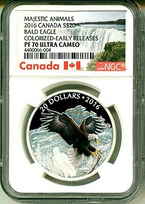 2016 Canada S$20 Majestic Animals Baronial Bald Eagle ER NGC PF70 Ultra Cameo