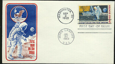 #C76 MOON LANDING Dual Cancelled Cover Craft Cachet FDC UA with Info StufferCard