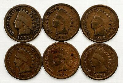 Lot of 6 Different 19th Century Indian Head Cents - Good to Very Good
