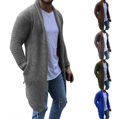Men's Knitted Cardigan Long Sleeve Casual Loose Sweater Jacket Overcoat M-3XL