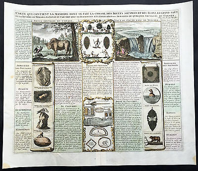 1719 Chatelain Large Antique Famous Print North American Indians, Buffalo Beaver