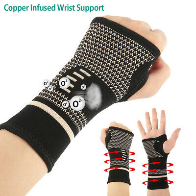 Copper Compression Wrist Support Arthritis Gloves Hand Palm Brace Carpal S/M/L