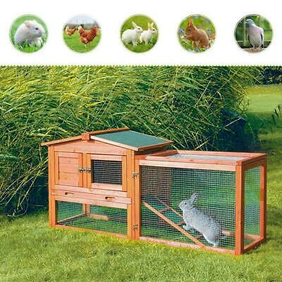 "61""Wooden Rabbit Hutch Cage Chicken Coop House Bunny Hen Pet Animal Natural Wood"