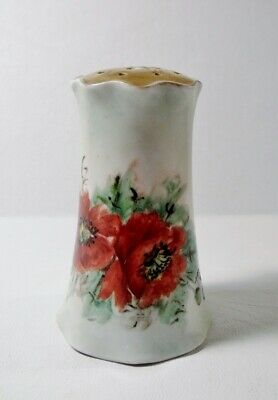 Antique Hand Painted & Signed Porcelain SUGAR SHAKER MUFFINEER Red Poppies