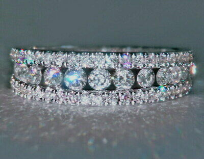 1Ct 100% Natural Diamond 14K White Gold Engagement Wedding Cluster Band Ring