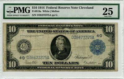 FR. 919a 1914 Blue Seal $10 Federal Reserve Note Cleveland PMG Very Fine 25