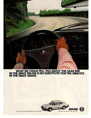 """1986 Saab 900 Blind Hairpin Turn """"The Most Intelligent Cars Ever Built"""" Print Ad"""