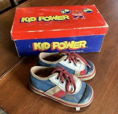 Pair of Vintage KID POWER Super Track Children's Shoes with Box