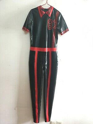 Latex Catsuit 100% Gummi Overall Sexy Cosplay Schwarz Rot Bodysuit fixed size L