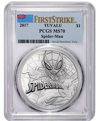2017 1 oz Tuvalu Spiderman Marvel Series Silver Coin PCGS MS 70 First Strike