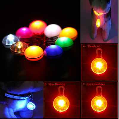 Pet Puppy Safety LED Clip Buckle Night Light Flashing Collar Tag Pendant