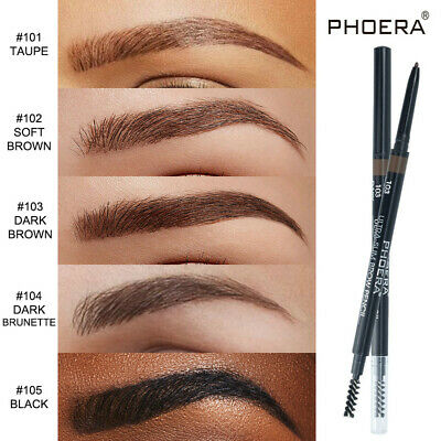 PHOERA 2in1 Waterproof Eye Brow Eyeliner Eyebrow Pen Pencil Brush Makeup Tools