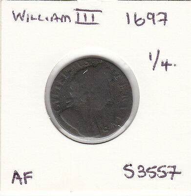 1697 William Iii Farthing - S3557 - Nice Coin