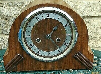 Vintage 1930'S Smiths Enfield Made In England 8 Day Walnut Cased Mantel Clock