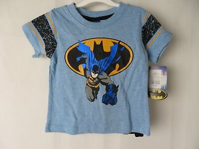 Batman Boys Shirt with Detachable Cape Short Sleeve Blue Size 12 Mos  #7367