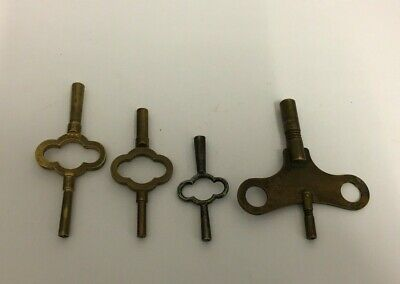 4 Original Antique Victorian Mantel Clock Keys .Double Ended Keys