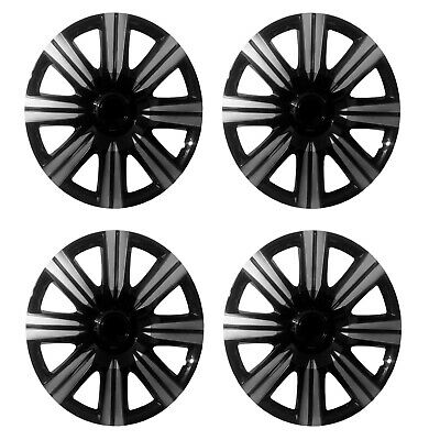 "14 Inch Universal Wheel Trims Car Covers Black/Silver Plastic 14"" Set Of 4"