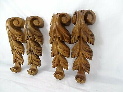 """8.5""""  4 pcs Antique French Hand Carved Wood Solid Walnut Ornament Decoration"""