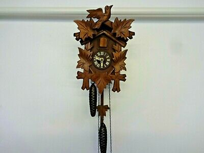 helmut kammerer vintage german wooden cuckoo clock  2 weights pendulum
