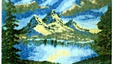 "LATCH HOOK RUG KIT LARGE SCENIC RUG "" MOUNTAIN LAKE"" Free UK postage"