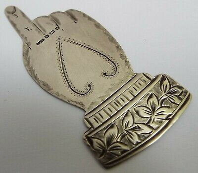 Superb Rare English Antique 1906 Sterling Silver Novelty Pointing Hand Bookmark