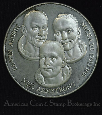 1969 First USA Landing on The Moon Collins Armstrong Aldrin Silver Medal 34.4g