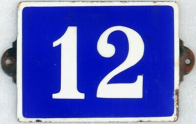 Large old blue French house number 12 door gate plate plaque enamel sign c1970