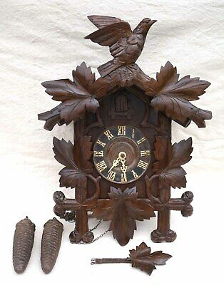 Antique German Black Forest Carved Cuckoo Clock Gong circa 1910s