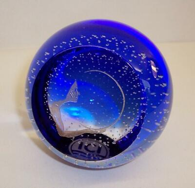 Vintage ICI PAPERWEIGHT Etched/Gold Filled Art Deco HOLDING the MOON Design BLUE