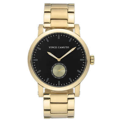 Vince Camuto VC/1109BKGP Men's Black Dial Gold Tone Stainless Steel Watch