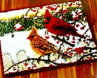 "Latch Hook Rug  Kit  ""Winter Cardinals"" Colourful Bird Rug"