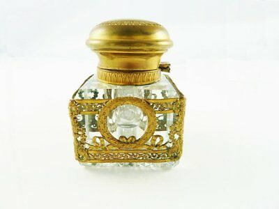Antique French Crystal Inkwell Dore Decoration Empire Design Neoclassical
