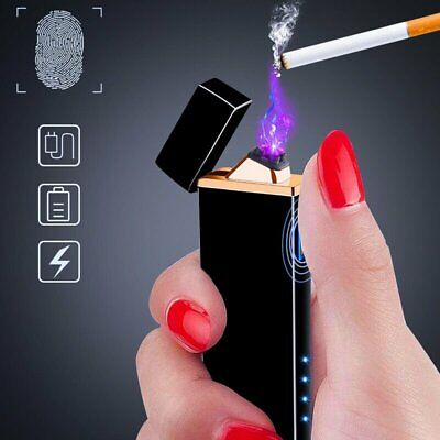 Dual Arc USB Electric Lighter Rechargeable Plasma Windproof No Fame Small Cigar