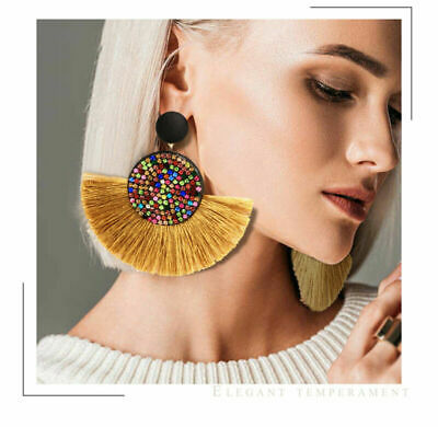 Bohemian Tassel Earrings Women Handmade Geometric Fringe Rhinestone Boho Jewelry