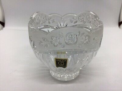 Oneida Decorative Lead Crystal Bowl / candle holder floral etched frosted Rim