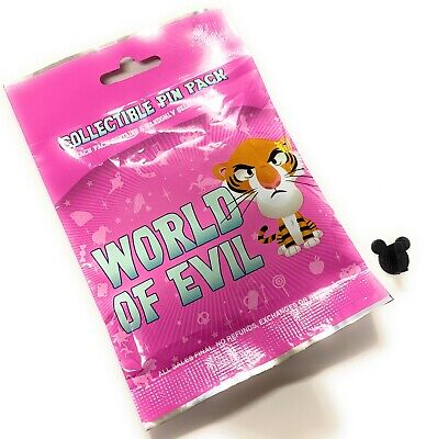 Disney Parks World of Evil Cuties Collectible Mystery 5 Pc Pin Pack Bag - NEW