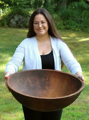 Huge 25 Inch Antique 19thC New England Primitive Maple Wood Bowl, NR