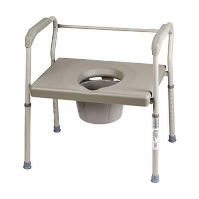 Duro-Med Bedside Heavy Duty Steel Bariatric Commode Chair 500 lb Capacity