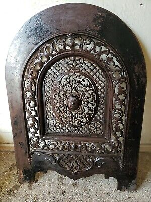Fabulously Ornate Antique Cast Iron Fireplace Cover Vent Door Arched 25.75X19.25