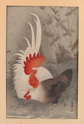 Early 20thC Antique Ohara Koson Japanese Woodblock Print Rooster & Hen