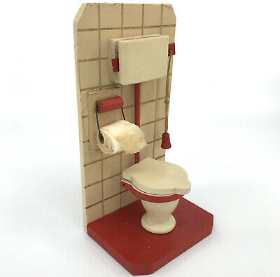Dollhouse Miniature Bathroom Wooden Toilet Tank Paper Roll 1920s 6in Germany Vtg