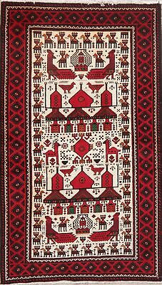 Animal Pictorial Tribal Balouch Afghan Oriental Area Rug Hand-Knotted IVORY 4x7