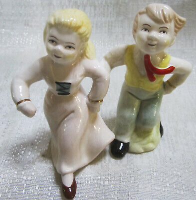 """Square Dancers vintage ceramic Salt and Pepper Shakers 4-1/4"""" Tall Style #392"""