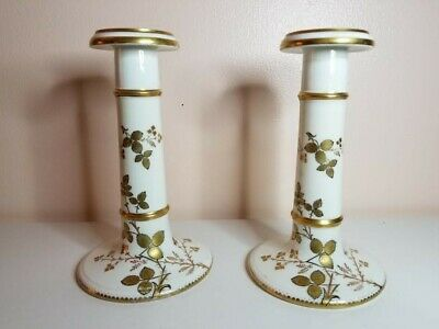 """Pair of Vintage White & Gold Hand-painted Porcelain Candle Holder, Gilded 6-1/4"""""""