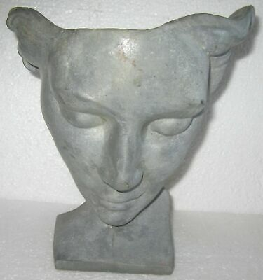 Frankart art deco Nymph face table lamp base in a unfinished aluminum metal USA