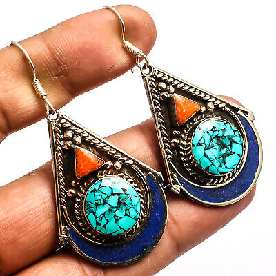 """Blue Turquoise Red Coral 925 Silver Plated Earring Jewelry Sz 2.46"""""""