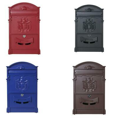 Vintage Retro Cast Wall Mount Mailbox Mail Letter Newspaper Rool Door Safe Box