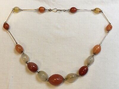 Antique Art Deco 1920s agate gemstone cornelian & goldfish colour bead Necklace