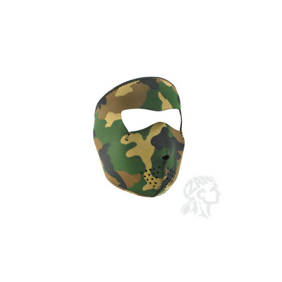 WNFM118 Zan Headgear Full Face Neoprene Face Mask Woodland Camo